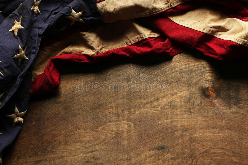 Old American flag for Memorial Day or 4th of July. Old American flag background for Memorial Day or 4th of July royalty free stock photo
