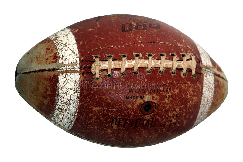Old american football ball. Isolated on white stock photo