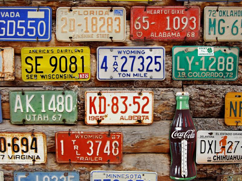 Old license plates editorial photo. Image of plate, towns - 105583691