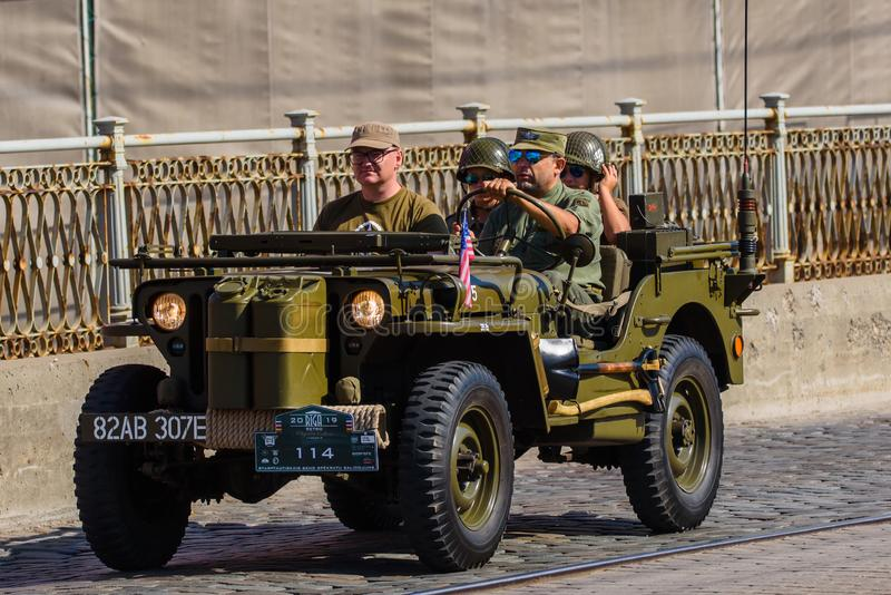 An old american military jeep, during Riga Retro 2019 royalty free stock photography