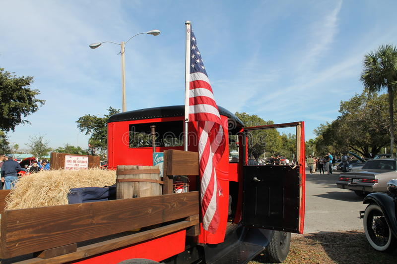Old american truck and american flag stock photos