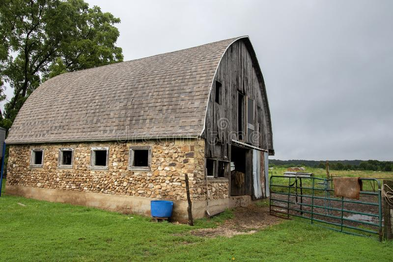 Old Amish rock barn stock photos