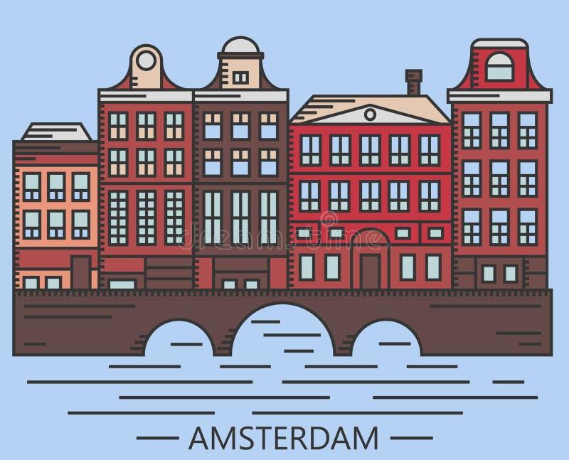 Old Amsterdam Holland houses on bridge set vector. Line drawn illustration isolated on blue background royalty free illustration