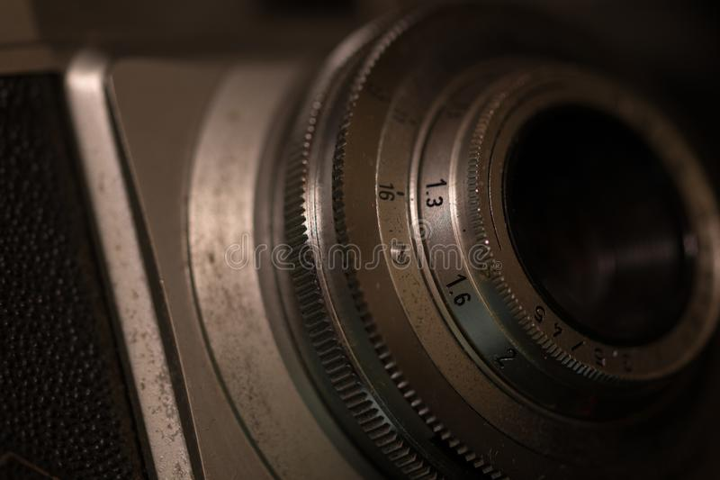 Old analog camera. Close-up royalty free stock photo