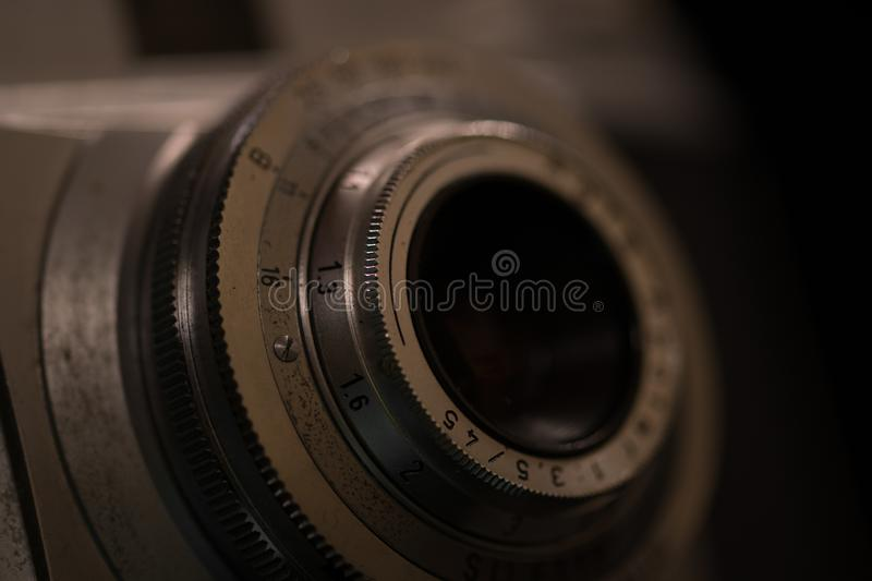Old analog camera. Close-up stock photo