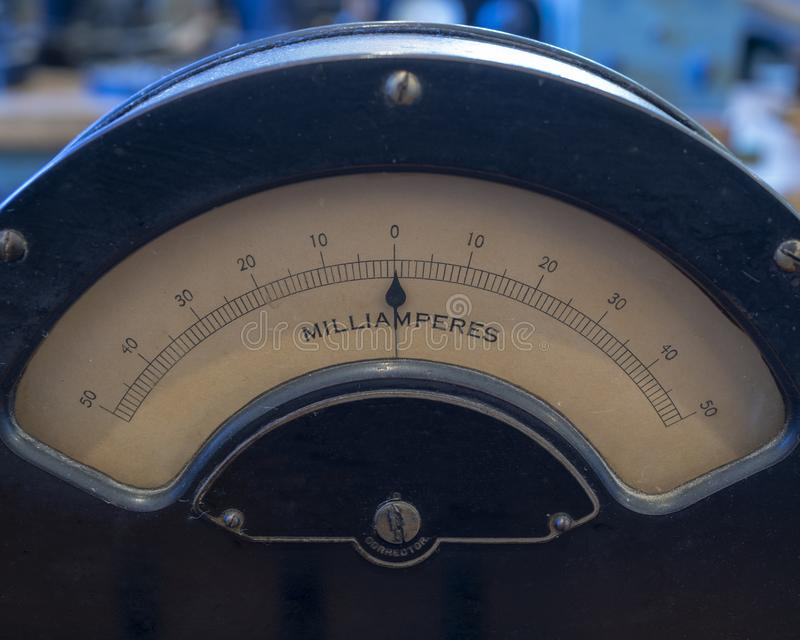 Old analog dial. Showing current reading royalty free stock photography