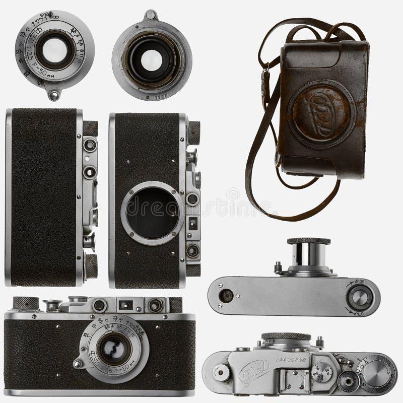 Old analog camera on white background stock images
