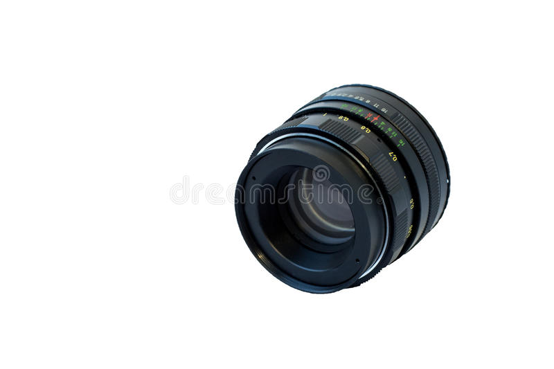 Old analog lens. On white background stock photos