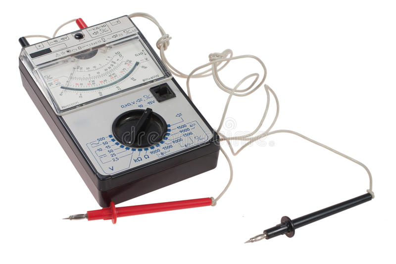 Old analog multimeter isolated stock photos