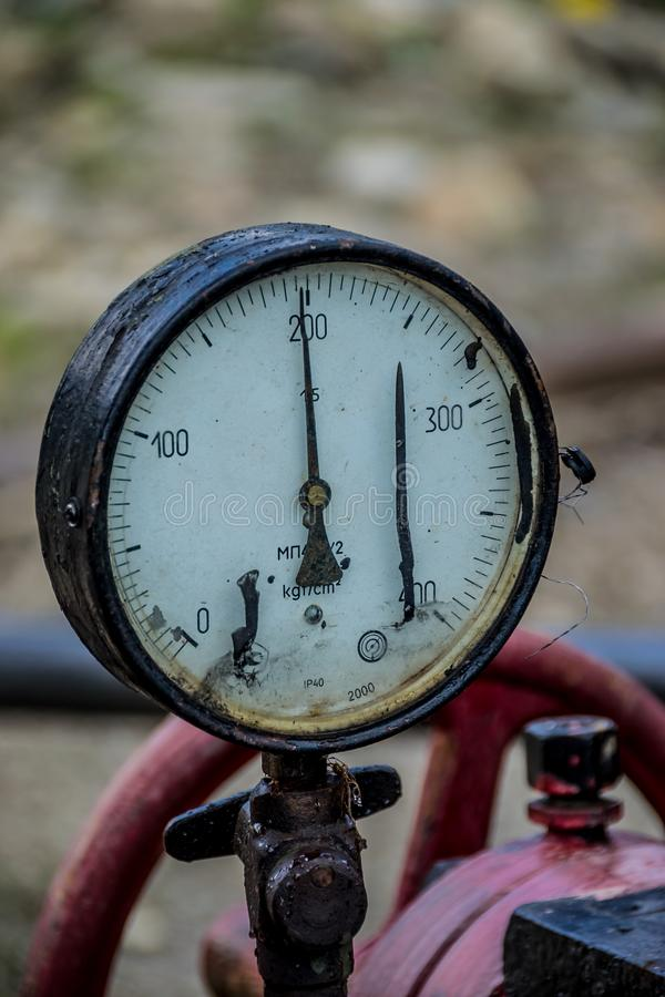 Old analog pressure gauge. Close-up royalty free stock images