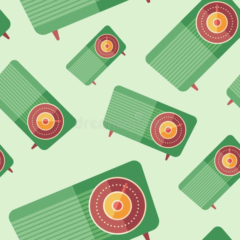 Old analog radio flat icon seamless pattern. stock illustration