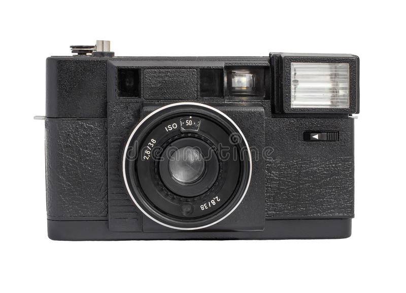 Old analog rangefinder camera on film 35mm format isolated on a white background. Original old analog rangefinder camera on film 35mm format stock photos