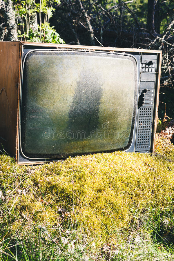Old analog television in forest royalty free stock photography