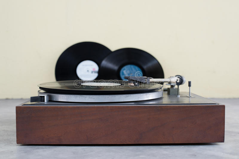 Old analog turntable. Playing record stock photos