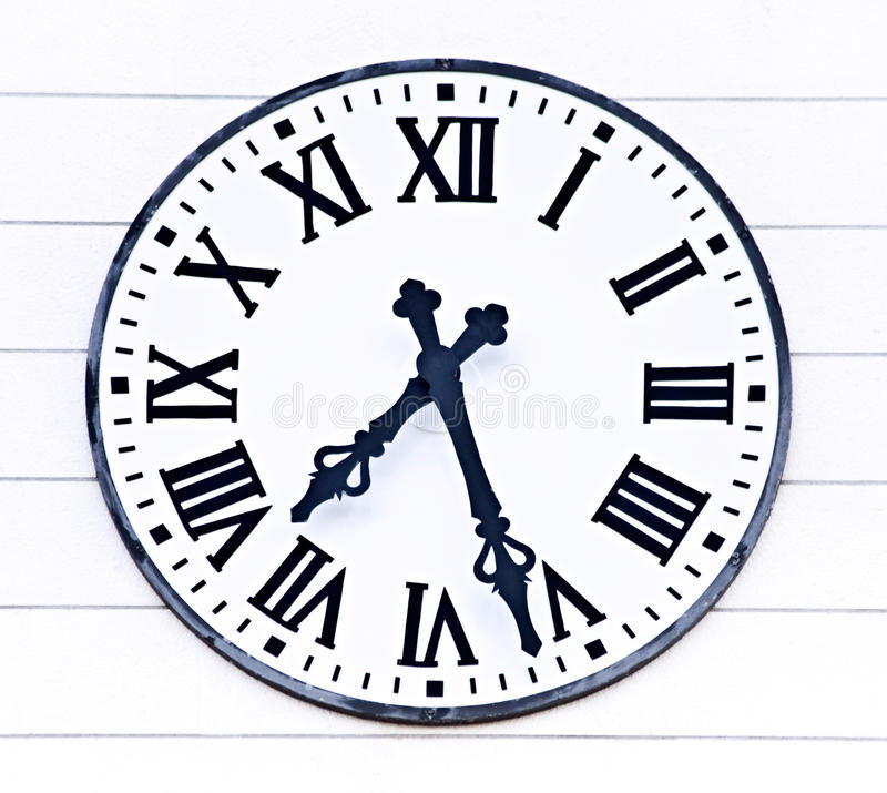 Old analogue church clock time royalty free stock images