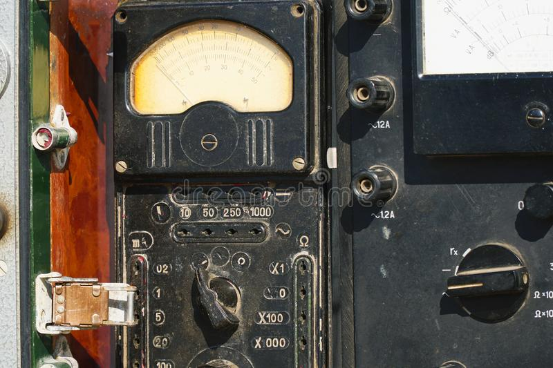 Old analogue multimeter with dial scale royalty free stock photography