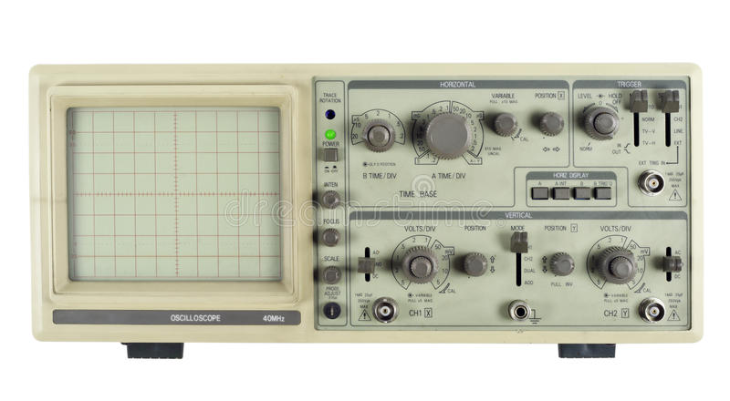 Old analogue oscilloscope royalty free stock photography