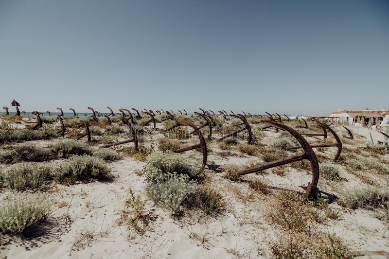 The old Anchor cemetery at the Barril beach in Tavira Algarve region Portugal stock photo
