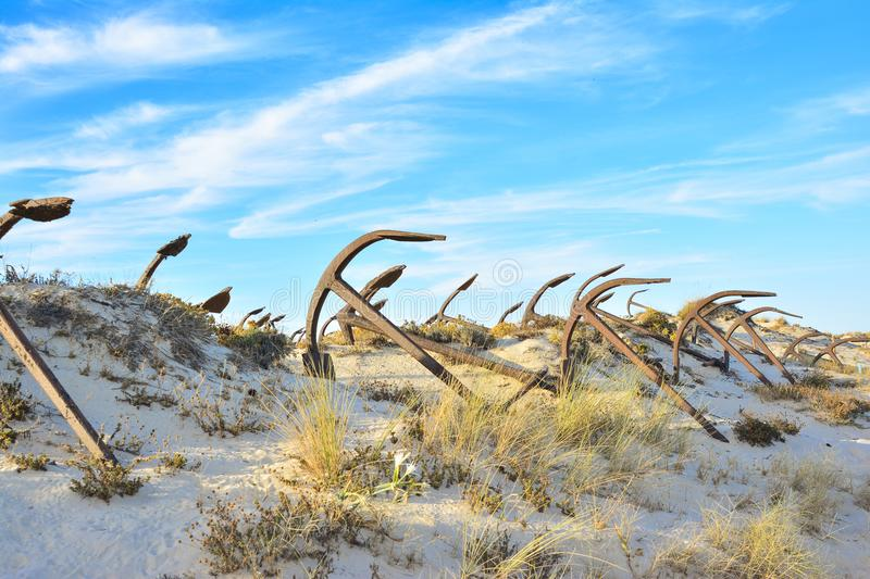 The old Anchor cemetery at the Barril beach royalty free stock images