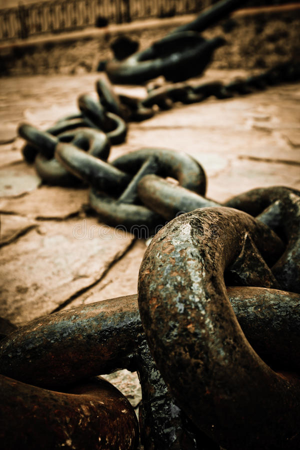 Download Old anchor and chain stock image. Image of maritime, steel - 14101433