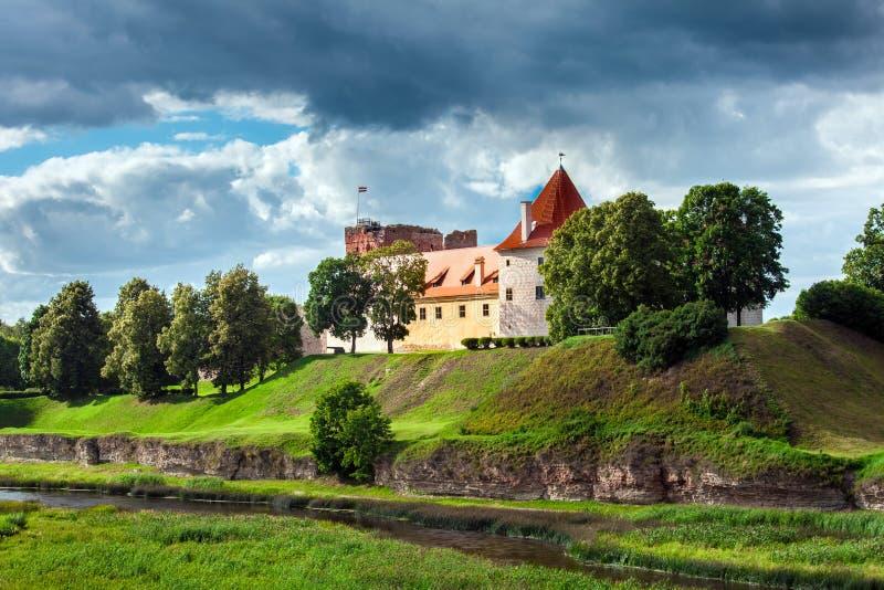 Ancient Bauska castle. Old ancient Bauska castle in Latvia royalty free stock image