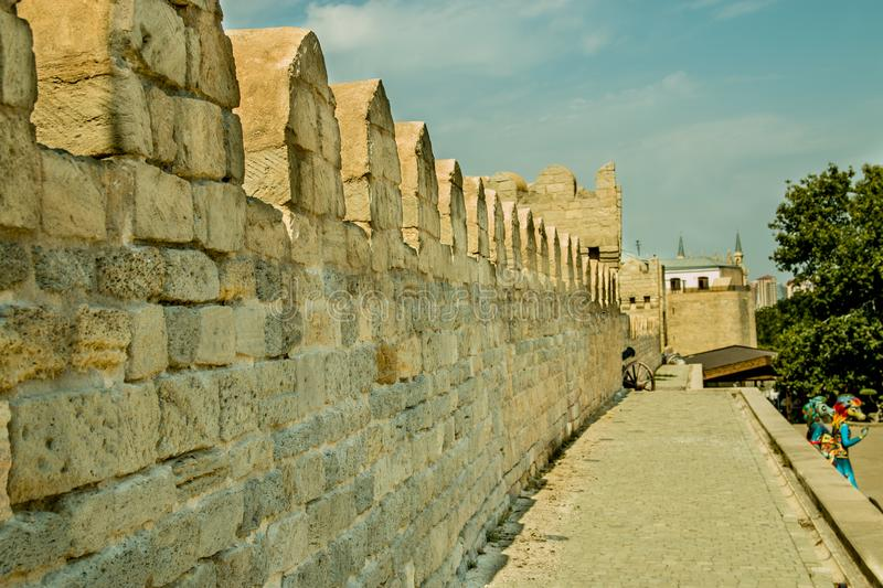 Old ancient castle wall perspective view stock photography