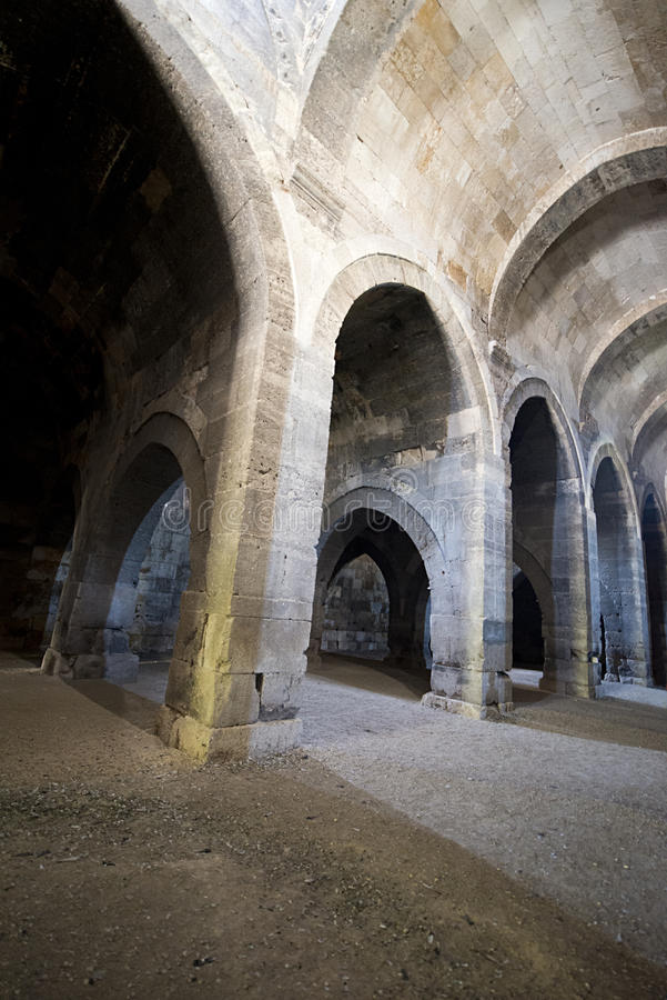 Old Ancient Medieval Castle Stone Dungeon Stock Photos