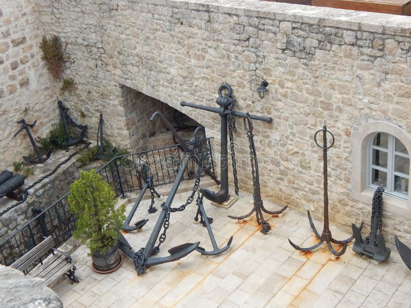 Old ancient metal anchors. Europe.  royalty free stock image
