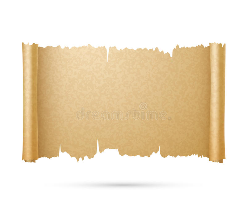 Old ancient papyrus, parchment scroll vector illustration royalty free illustration