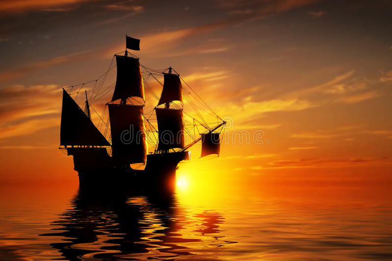 Old ancient pirate ship on peaceful ocean at sunset. stock illustration