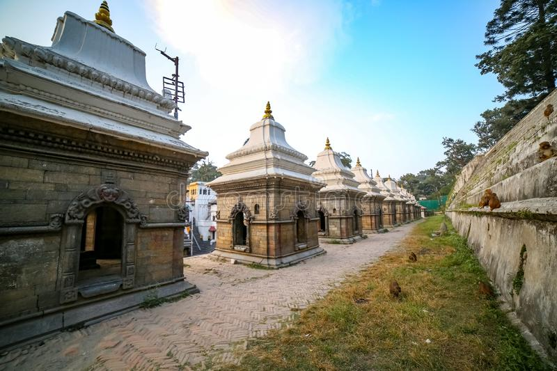 Ancient temples. Old ancient temples and Pashupatinath Temple in Kathmandu, Nepal stock photos