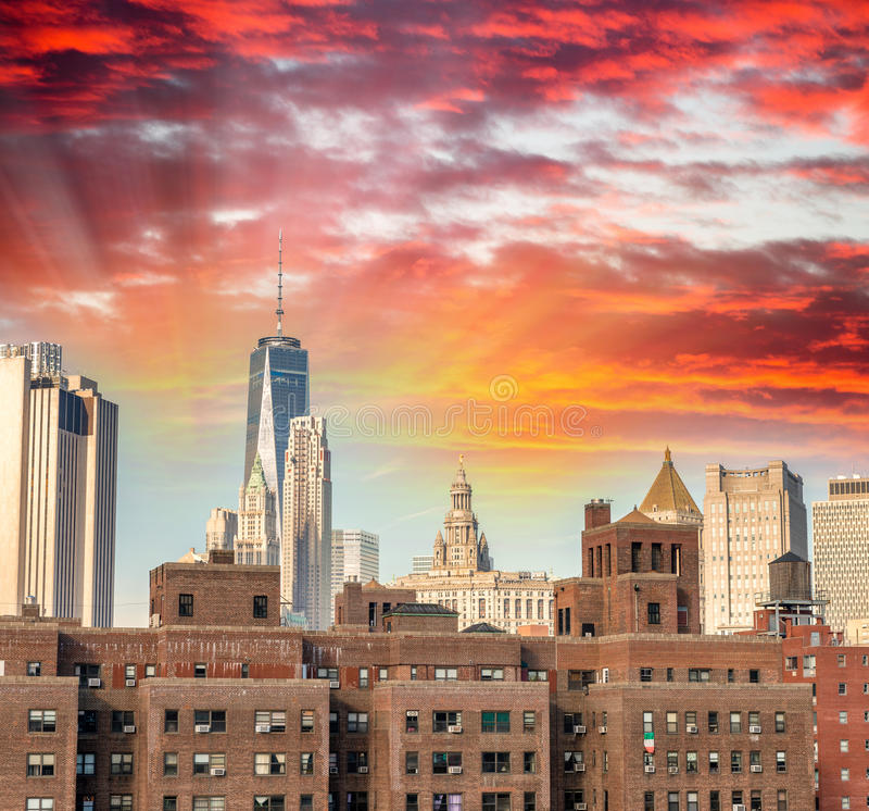 Free Old And Modern Buildings Of Downtown Manhattan, New York City Stock Images - 73591084