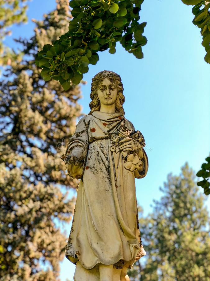 Old angel statue at the cemetery stock photo