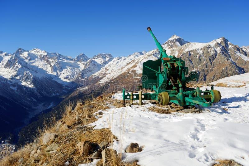 Old anti-avalanche gun. Central Caucasian ridge. Karachay-Cherkessia, Russia.  stock photography