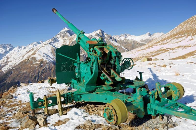 Old anti-avalanche gun. Central Caucasian ridge. Karachay-Cherkessia, Russia.  stock photo