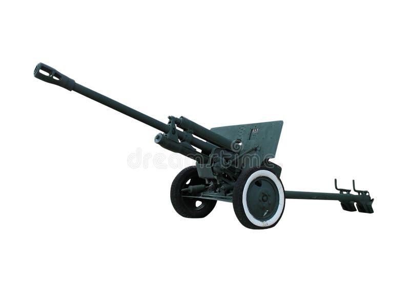 Old anti-tank cannon gun over white stock photography