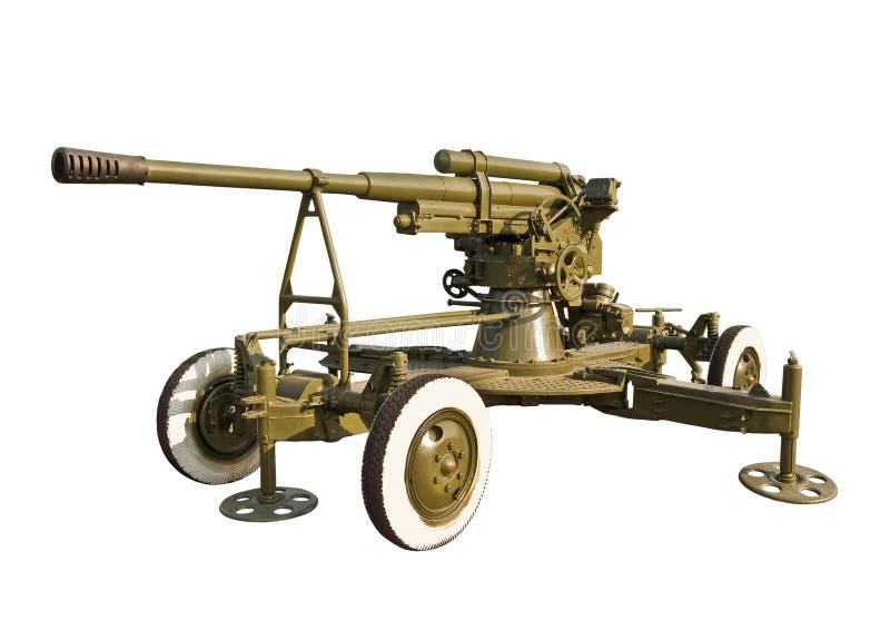 Old antiaircraft gun stock photo