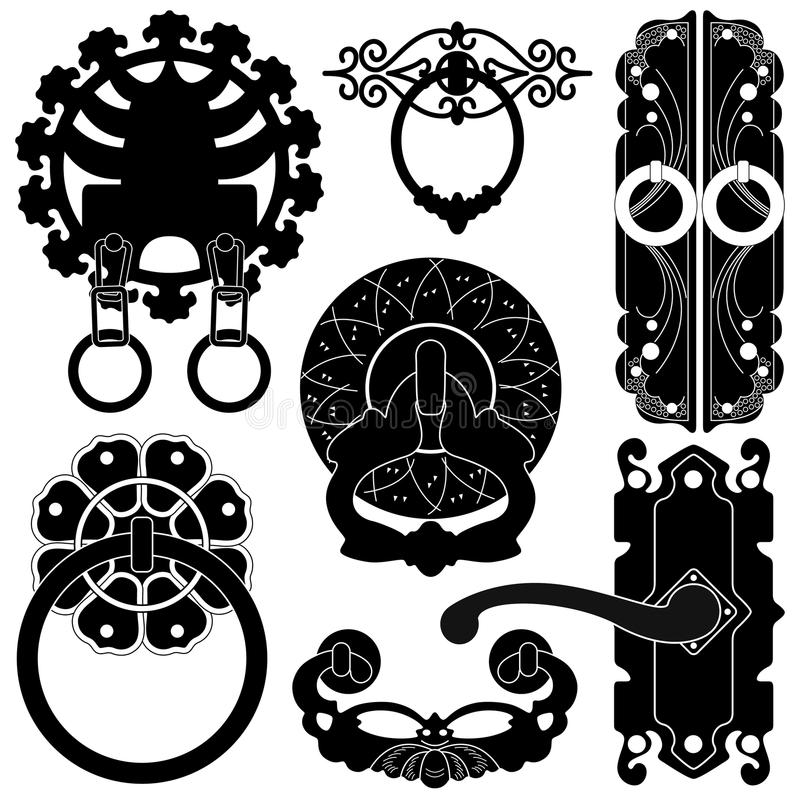 Old Antique Ancient Door Lock Handle In Silhouette Royalty Free Stock Images