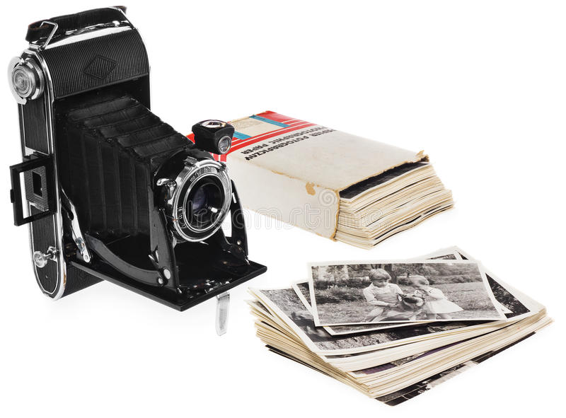 Old, antique, black, pocket camera. Front view for the lens. royalty free stock photography