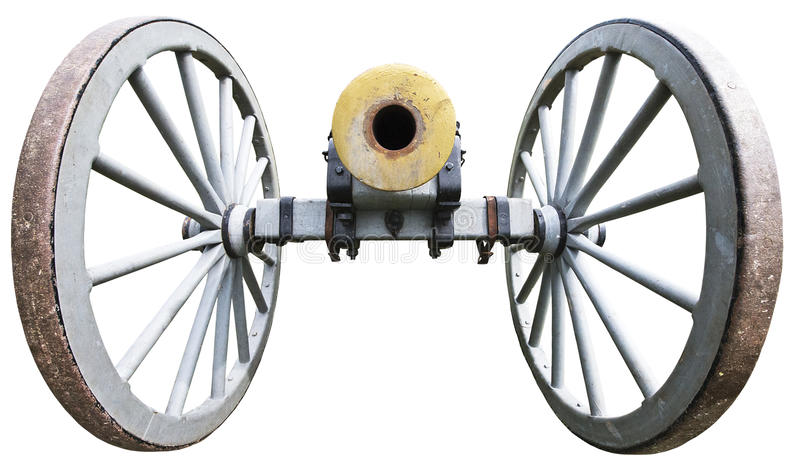 Old Antique Civil War Artillery Cannon Isolated. A real military antique civil war artillery cannon that has been isolated on a white background. The cannon is stock photo