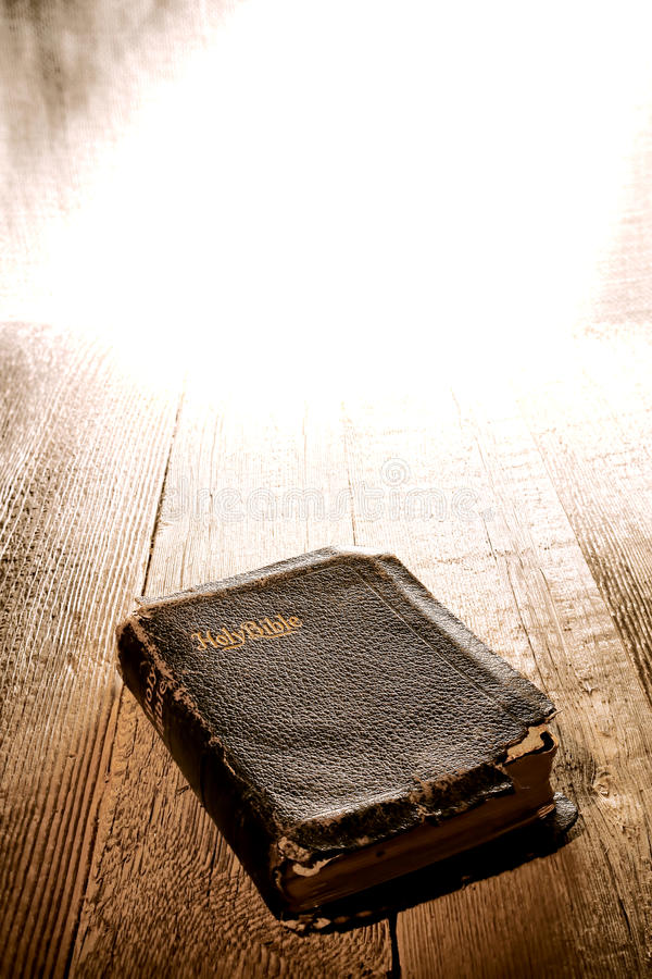 Download Old Antique And Damaged Holy Bible In Divine Light Stock Image - Image: 24466991
