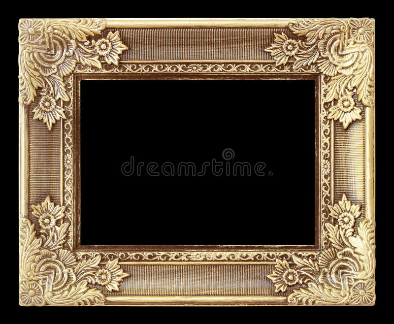 Old antique gold frame on the black background royalty free stock image