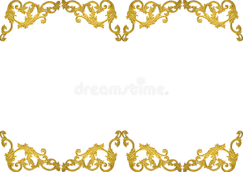 Old antique gold frame Stucco walls greek culture roman vintage style pattern line design for border isolated on white background stock illustration