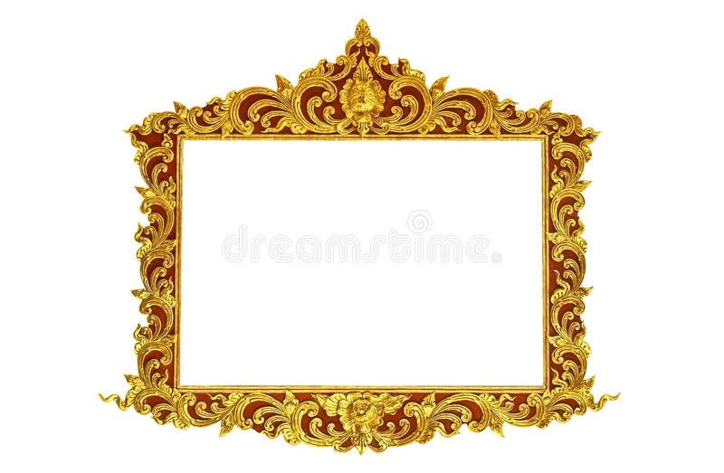 Old antique gold frame Stucco walls greek culture roman vintage style pattern line design for border isolated on white background royalty free stock photos