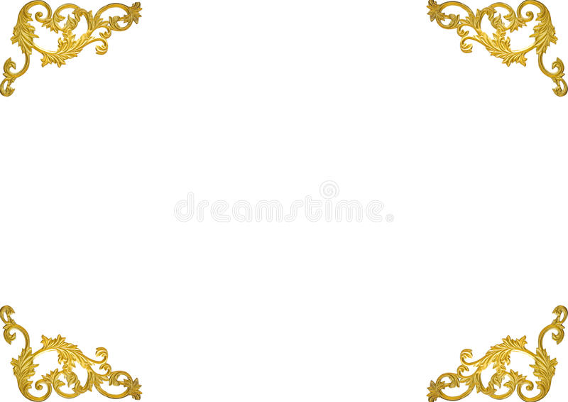 Old antique gold frame Stucco walls greek culture roman vintage style pattern line design for border isolated on white background. With clipping path