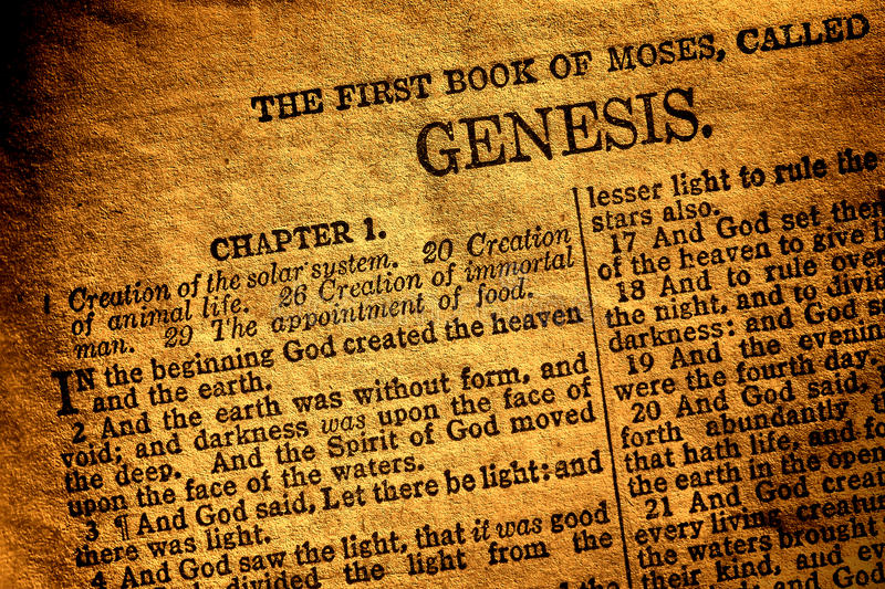 Old Antique Holy Bible Book Genesis Chapter Text stock images