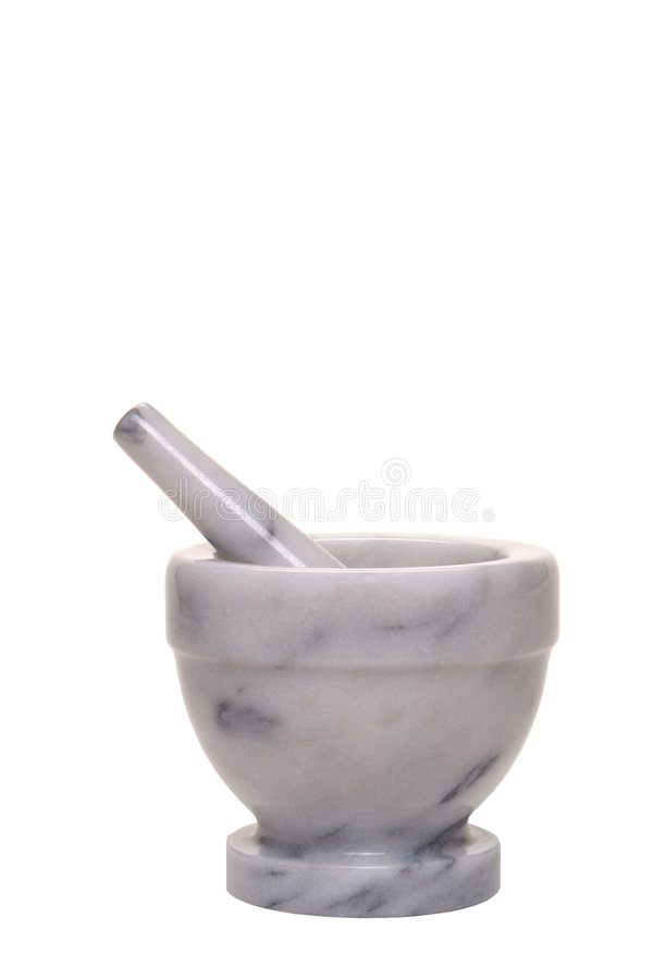Old Antique Marble Mortar and Pestle Isolated stock photo