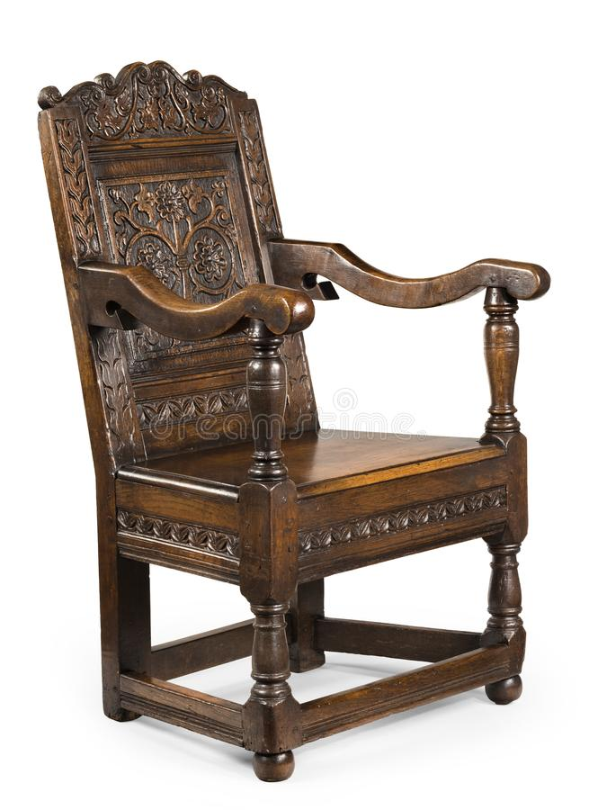Free Old Antique Oak Wainscot Chair With Carving Isolated On White Stock Photography - 156992102