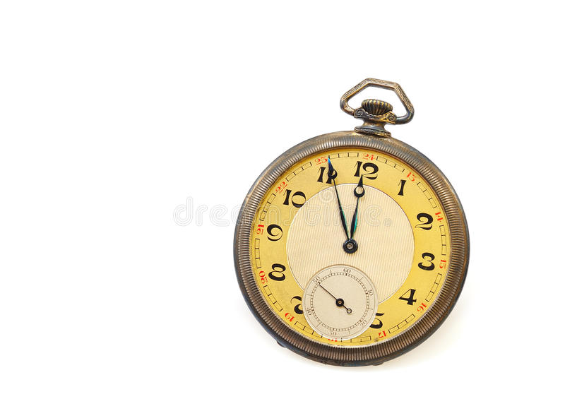 Old antique pocket watch isolated stock photography