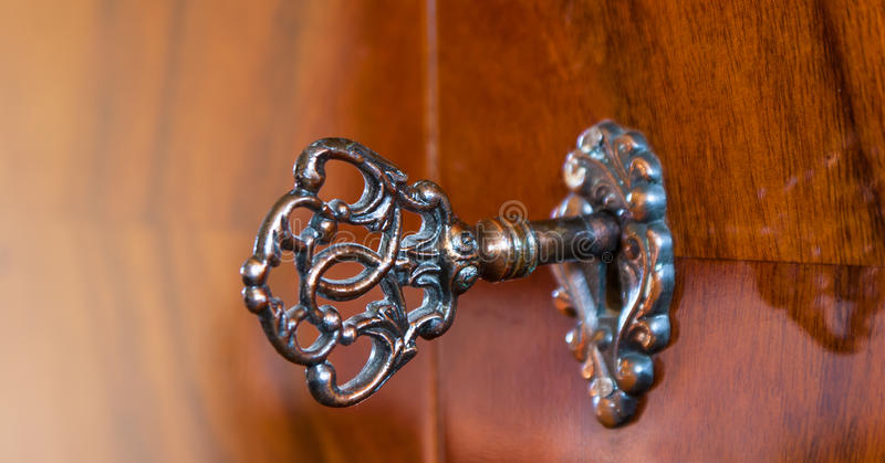 Old Antique Skeleton Key In Lock Of Wooden Cabinet Stock Photo ...